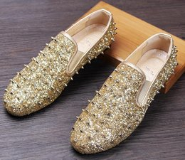 Wholesale Wedding Male Dress Designers - Men Brand Designer Shoes Glittering sequins Studded Rivet Spike Loafer shoe For Male dress wedding shoes Sapato Social Masculino 38