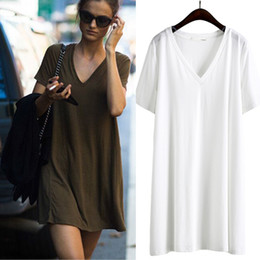 Wholesale Beating Dress - Summer Street beat solid color V-neck short-sleeved loose large size was thin long ladies T-shirt dress