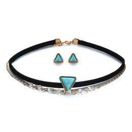 Wholesale Turquoise Statement Earrings - New arrival turquoise necklaces earrings vintage multilayer choker triangle turquoise statement necklace earring stud chokers jewelry set