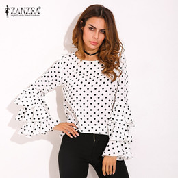 Wholesale Womens Office Shirts - Wholesale- Plus Size ZANZEA Womens Polka Dot Ruffle Flouncing Long Flare Sleeves O Neck Blouse Fashion Office Female Tops Shirt Blusas 2017
