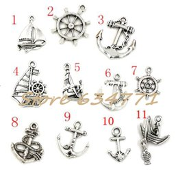 Wholesale Anchor Rudder - Hot ! 110pcs Antiqued Silver Mixed Sailing & anchor & rudder Charm Pendant DIY Jewelry 11 - style
