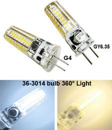 Wholesale Bi Pin 24v - Bi-Pin Mini G4 GY6.35 LED Bulb AC DC 12V-24V 4W 400LM 36-3014 Cool   Warm White MD Silicone crystal Candle pendant lamp Cabinet Light
