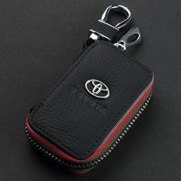 Wholesale Car Leather Key Holder Case - 2016 NEW Fashion 100% Genuine Leather cowhide Car Key Holder Keychain Ring Black Case Bag for Toyota