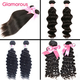 Wholesale Cheap Unprocessed Curly Human Hair - Glamorous Cheap Brazilian Weave Unprocessed Human Hair Extensions 2 Bundle Natural Wave Deep Wave Curly Straight Virgin Brazilian Hair Weave