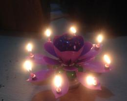 Canada Art Musical Bougie Fleur De Lotus Joyeux Anniversaire Cadeau De Fête Tournante Lumières Décoration Bougies Lampe 5 couleur 20 pcs Offre