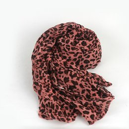 Wholesale Crinkled Scarves - Wholesale- New Arrival Chiffon Scarf Leopard Printed Long Crinkle Scarves Women Spring Autumn Winter Wrap Soft Silk Scarf Shawl Poncho