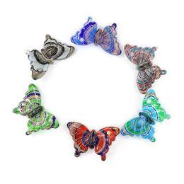Wholesale Lampwork Glass Animal Necklace - Lampwork Butterfly Glass Pendants Murano Foil Glaze Animal Pendants With Mix Colors For Necklace 12pcs pack MC0006