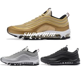 Wholesale Lowest Brand Max - Maxes 97 OG QS Metallic Gold Silver Bullet Running Shoes with Box Men and Women Free Shipping Brand Sneakers Sports Shoe