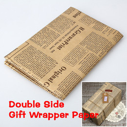 Wholesale Newspaper Wrapping - Wholesale- 1pc Wrapping Paper Vintage Newspaper Gift Wrap Artware packing Package Paper Christmas Kraft Paper Random Color 52x75cm