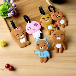 Wholesale Wholesale Luggage Tags Personalized - 20pcs lot cartoon Bear luggage tags pvc travel baggage tag PERSONALIZED Identification card suitcase label Bag jewelry Pendants accessories