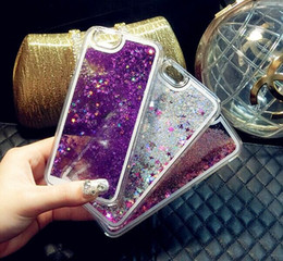 Wholesale Wholesale Clear Plastic Iphone Cases - For IPHONE Stylo 3 Quicksand Case For Iphone 7 3D Liquid Case Floating Glitter Star Case Clear Plastic For Samsung Galaxy OPP Package
