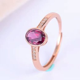 gemstone ring designs for women Promo Codes - Simple design gemstone ring fashion solid 925 silver pyrope ring for woman 5mm*7mm natural pyrope garnet gemstone silver ring