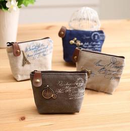 Wholesale cheapest purses - Wholesale- Ladies Cheapest Canvas Classic Retro Small Change Coin Purse Little Key Car Pouch Money Bag Girl Mini Short Coin Holder Wallet