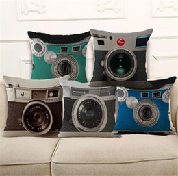 Wholesale Throw Backs - Camera Square Shape Rombus Cotton linen Pillow Cover Pillowcase 18x18 inches Comfortable Back Throw Wedding Cushion Pillow Case Personality