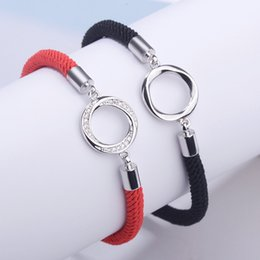 Wholesale Black Men String - Fashion love Charm Bracelets Red String Handcrafted Macrame Rope Bangles Cube Micro three circle Zircon love Bracelet Woman Man Jewelry