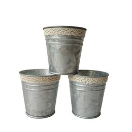 Wholesale Metal Baskets Wholesale - Free shipping D7XH7CM Silvery Color Metal Planter small Galvanized pot garden bucket Mini Nursery Pot Garden Supplies
