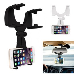 Wholesale Iphone Rearview Mirror Mount - Car mobile holder Car Rearview Mirror Mount Holder Stand Cradle for iPhone 7 6S for Samsung S8 S7 S6 for Cell Phone