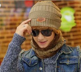 Wholesale Knitted Neck Warmers Hat - Korean version of Neck warmer hat knit scarf cap Winter Hats for men Beanie Knit Hat Skullies Beanies outdoor hat