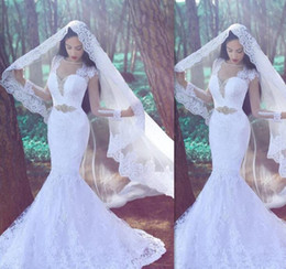 Wholesale Long Sleeve Sexy Gown Fishtail - 2017 Fishtail White Lace Mermaid Wedding Dresses Cap Sleeve Sheer Bridal Gowns Vestido De Noiva Sereia Com Manga