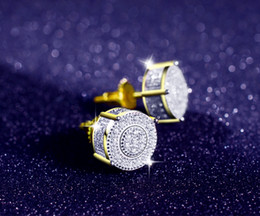Wholesale Pave Earrings Studs - 360 Round 14k two-tone and rohdium Plated CZ Micro Pave Bling Earrings