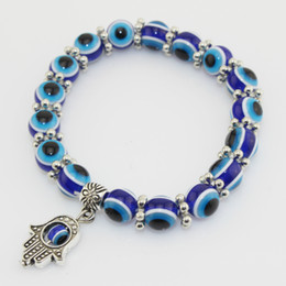 Wholesale Turkey Evil Eye Bead - Fashion Turkey Evil Eye Bracelet Resins Beads Shamballa pendant Kabbalah Hand beaded bracelet strand elastic wristband charm jewelry gifts