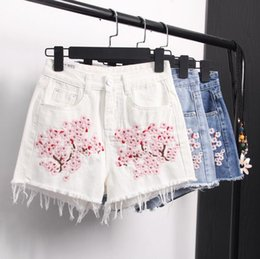 Wholesale Thin Cotton Spandex Shorts - Free shipping Fashion floral embroidery wild jeans shorts high waist was thin waist pants JW003 Women's Jeans