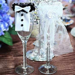 Wholesale Bride Groom Wine Glasses - Wholesale-Wine Glasses Decor Ornaments Dress 1 pair Bride & Groom Bridal Veil Wedding Party Accessary