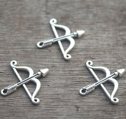 Wholesale Wholesale Bow Arrows - 25pcs--Antique Tibetan Silver Tone Bow and Arrow Charms pendant 25x26mm