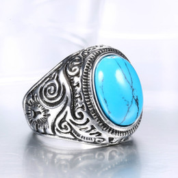 Wholesale Turquoise Rings Wholesale China - Tibetan jewelry wholesale titanium inlay God Retro Black Onyx Turquoise Ring Ring domineering man