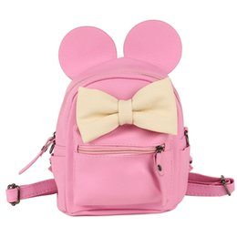 Wholesale Baby Walker Bag - COOL WALKER Fashion female bag quality leather women's bag backpacks mini Cute Animals bow sweet ears Wind School Baby backpack