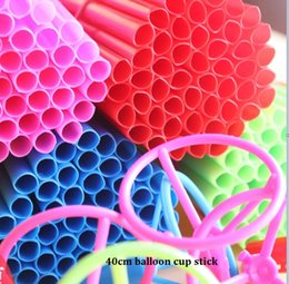 Wholesale Modelling Sticks - 40CM length colorful stick and cup for aluminium balloon xmas wedding holiday festival decoration accesorries 50pcs a bond