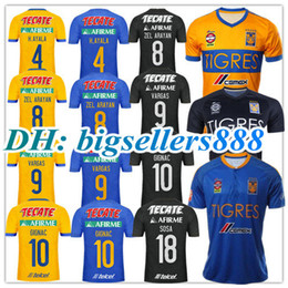 Wholesale Football Mexico - TOP THAI QUALITY 17 18 Mexico club Tigres UANL soccer jersey Yellow home 5 Stars 2017 GIGNAC Vargas H. Ayala SOSA away blue football Shirt