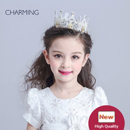 Wholesale Novelty Tiaras - Tiaras and crowns Birthday tiara Kids beauty contest And wedding hair tiara Kids dresses for girls Best flower girl Product supplier china