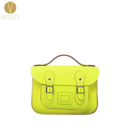 "Wholesale Handbag Neon - Wholesale- 8.5"" MINI NEON BRITISH GENUINE LEATHER SATCHEL BAG - Women's Vintage Cute Fluro Candy Bright Cross Body Messenger Bag Handbag"