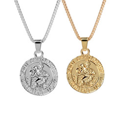 Wholesale wholesale coin jewelry - Saint Christopher Protect Us Surfing Necklace Coin Traveller Necklace Silver Gold Plated Chain for Women Men Fashion Jewelry Drop Shipping