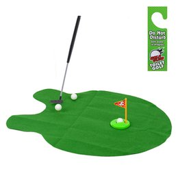 Wholesale Bathroom Golf Game - Wholesale-1Set Mini Golf Game Sets Toilet Time Bathroom Golf Practice Potty Putter Game Men's Toy Novelty Gift K5BO