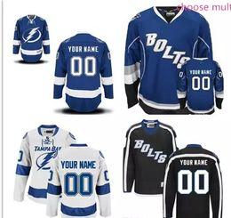 Wholesale Kids Size Hockey Jerseys - Tampa Bay Lightning Custom Stitched mens womens youth Away Home White royal Blue Black Third ice Hockey cheap kids BOLTS Jerseys size S-4XL