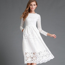Wholesale Most Elegant Prom Dresses - The most beautiful prom cheap thrifted Lace Dresses Hollow Out Lace Elegant Party Dress Women Long Sleeve Casual Dresses LX4