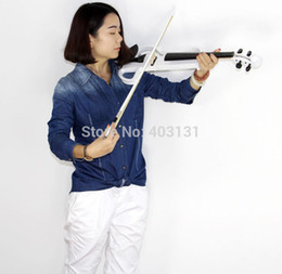 Wholesale Mahogany Maple Ebony - Wholesale-White 4 4 Electric Violin with Violin Case and Power Lines Super Handcraft Violin Free Shipping