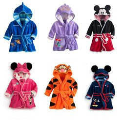 Wholesale Coral Fleece Bathrobe Wholesale - New Cartoon Minnie Mickey Mouse bathrobe Coral fleece Kids Tiger robes The Little Mermaid toweling robe Children Bathrobe Free shipping