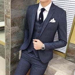 Wholesale High End Wedding Gowns - Wholesale- boutique high-end brand of the bridegroom's best Man formal wedding gown striped suit blazer slim Male business suit jacket coat
