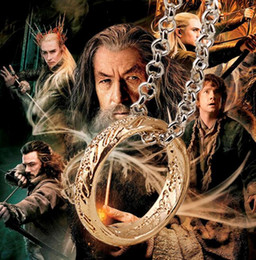 Wholesale Hobbit Silver - The Lord of The Rings Necklace Hobbit Necklace Movie Jewelry Pendant Fashion Accessories for Men Boys Xmas Gift