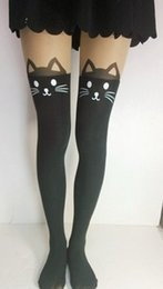 Wholesale Kitty Tights Wholesale - Wholesale-New Arrive Summer Women Fashion Black White Cat Hello Kitty Stockings Velvet High Patchwork Pantyhose Sexy Tights