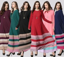 Wholesale Rainbow Dress Maxi - muslim dress women dresses islamic clothes islamic clothing chiffon long dress women caftan rainbow muslim clothes D137