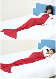 Wholesale Children Carpet - Children's mermaid blanket wool knitted carpet nap blanket children birthday gift bag mail