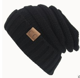 Wholesale Trendy Hats Women - Fashion men women hat CC Trendy Warm Oversized Chunky Soft Oversized Cable Knit Slouchy Beanie 13 color