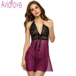 Wholesale Sexy Lingerie Leopard Nightdress - Wholesale- Avidlove Sexy Babydoll Dress Sleepwear Women Lace Mesh See-through Nightdress Erotic Lingerie Sexy Dot Night Dress with G-string