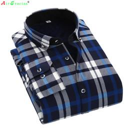 Wholesale Thick Warm Winter Mens Shirts - Wholesale- AirGracias 2016 Casual Shirt Winter Warm Long Sleeve Shirts Thick Fleece Mens High Quality Dress Shirts Male Plaid Shirts Camisa