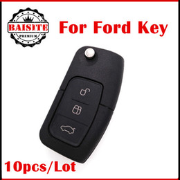 Wholesale Flip Electronics - 10pcs Lot 3 Button Flip Folding Car Blank with electronics Remote Fob Cover for Ford Focus Fiesta C Max Ka With LOGO Free shipping
