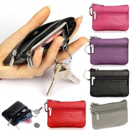 Wholesale Small Leather Pocket Change Holder - Wholesale- PU Leather Coin Purses Women's Small Change Money Bags Pocket Wallets Key Holder Case Mini Pouch Zipper WML99